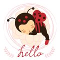 Beautiful ladybug baby card a vector illustration Stock Images