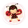 Beautiful ladybug baby card a vector illustration Stock Photos