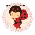 Beautiful ladybug baby card a vector illustration Royalty Free Stock Photo