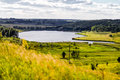 Beautiful lake landscape in ukrainian countryside summer backgr background with and cloudy sky Royalty Free Stock Photos