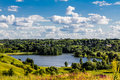 Beautiful lake landscape in ukrainian countryside summer backgr background with and cloudy sky Royalty Free Stock Photography