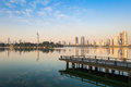 Beautiful lake in nanjing the with modern city skyline Royalty Free Stock Photos