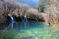 Beautiful lake with watefall in jiuzhaigou Stock Photography