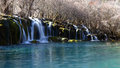 Beautiful lake with watefall in jiuzhaigou Stock Photo