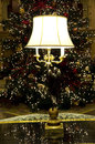 Beautiful lamp lighting christmas tree hotel lobby in an old with Stock Image