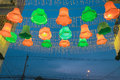 Beautiful lamp outside shopping mall night bazaar orange and green outdoor with electricity post and cable Stock Images