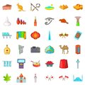 Beautiful landmark icons set, cartoon style