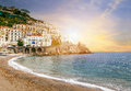 Beautiful landscape of amalfi coast mediterranean sea south ital Royalty Free Stock Photo