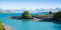 Beautiful landscape of garden, lake and snow mountain at Lake Tekapo, South Island, New Zealand