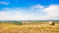 Beautiful landscape with hay bale in spring val d orcia tuscany italy Stock Photo