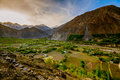 Beautiful landscape of hunza valley in autumn season northern area of pakistan Stock Photos