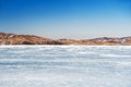 Beautiful landscape with ice and snow on the lake small depth of field Royalty Free Stock Photography