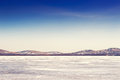 Beautiful landscape with ice and snow on the lake small depth of field Stock Image