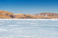 Beautiful landscape with ice and snow on the lake small depth of field small depth of field Stock Images