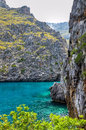 Beautiful landscape in mallorca with water and cliffs spain Stock Photos