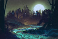 Beautiful landscape with mysterious river,full moon over castles Royalty Free Stock Photo