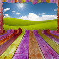 Beautiful landscape outside vivid wooden room Royalty Free Stock Images