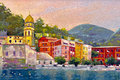 Beautiful landscape in portofino original oil painting on canvas Royalty Free Stock Photography