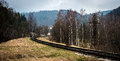 Beautiful landscape with railroad in mountains Royalty Free Stock Photo