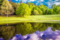 Beautiful landscape and reflections in water Royalty Free Stock Photo