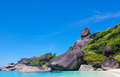 Beautiful landscape with the rock sail on similan islands thailand Royalty Free Stock Photos