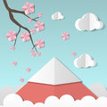 Beautiful landscape with sakura branch and flowers, clouds and mountain. Paper art style. Projects template for business