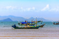 Beautiful landscape, sea, sky, clouds and fishing boats Royalty Free Stock Photo