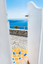 Beautiful landscape with sea view on santorini island greece of the through the open door selective focus Royalty Free Stock Photography