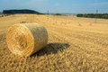 Beautiful landscape with straw bales in harvested fields Royalty Free Stock Photo