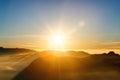 Beautiful landscape. Sunrise on the mountain Sri Pada Adam`s Peak. Sri Lanka. Royalty Free Stock Photo