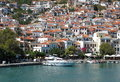 Beautiful landscape of white Mediterranean houses at Skopelos Is Royalty Free Stock Photo