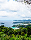 Beautiful lanscape of three bays phuket thailand from view in point Royalty Free Stock Photos