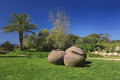 Beautiful large Greek pots on a green lawn in the garden Royalty Free Stock Photo