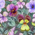 Beautiful large viola flowers with green leaves on gray background. Seamless spring or summer floral pattern. Watercolor painting. Royalty Free Stock Photo