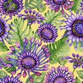 Beautiful large vivid African daisy flowers with green monstera leaves on yellow background. Seamless bright floral pattern. Royalty Free Stock Photo