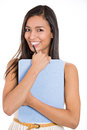 Beautiful laughing secretary or student, businesswoman holding a clipboard Royalty Free Stock Photo