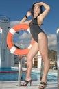 Beautiful lifeguard in the swimmingpool Royalty Free Stock Photo