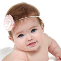 Beautiful little baby girl in studio with dress on Royalty Free Stock Images