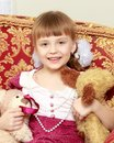 Little girl with a teddy bear. Royalty Free Stock Photo