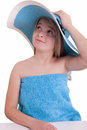 Beautiful little girl in blue summer hat Royalty Free Stock Image