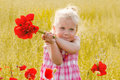 Beautiful little girl with a bouquet of red flowers stands on meadow Stock Images