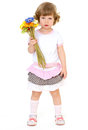 Beautiful little girl with hairstyle holds a bouquet of flowers on a white background on holiday isolated on white Stock Photos