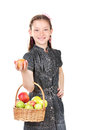 Beautiful little girl holding basket of apples Royalty Free Stock Photos