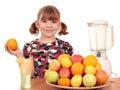 Little girl make fruit juice Royalty Free Stock Photo