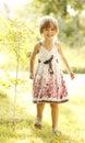 Beautiful Little Girl On Nature