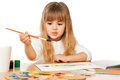 Beautiful little girl painting on white Stock Images