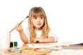 Beautiful little girl painting on white Royalty Free Stock Photos
