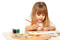 Beautiful little girl painting on white Stock Image