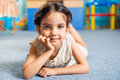 Beautiful little girl portrait latin in daycare Royalty Free Stock Image