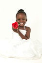 Beautiful little girl with red rose african american over white background Stock Photography